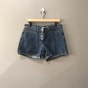 vintage exposed button fly jean shorts